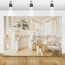 Laeacco chambre intérieur cheminée canapé fleurs bougie famille Portrait photographie arrière plans de noël décors pour Studio Photo