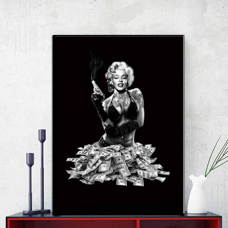 صور فنية للجدران قماش اللوحة ديكور المنزل الجدار ملصق الديكور لغرفة المعيشة يطبع مارلين مونرو على قماش