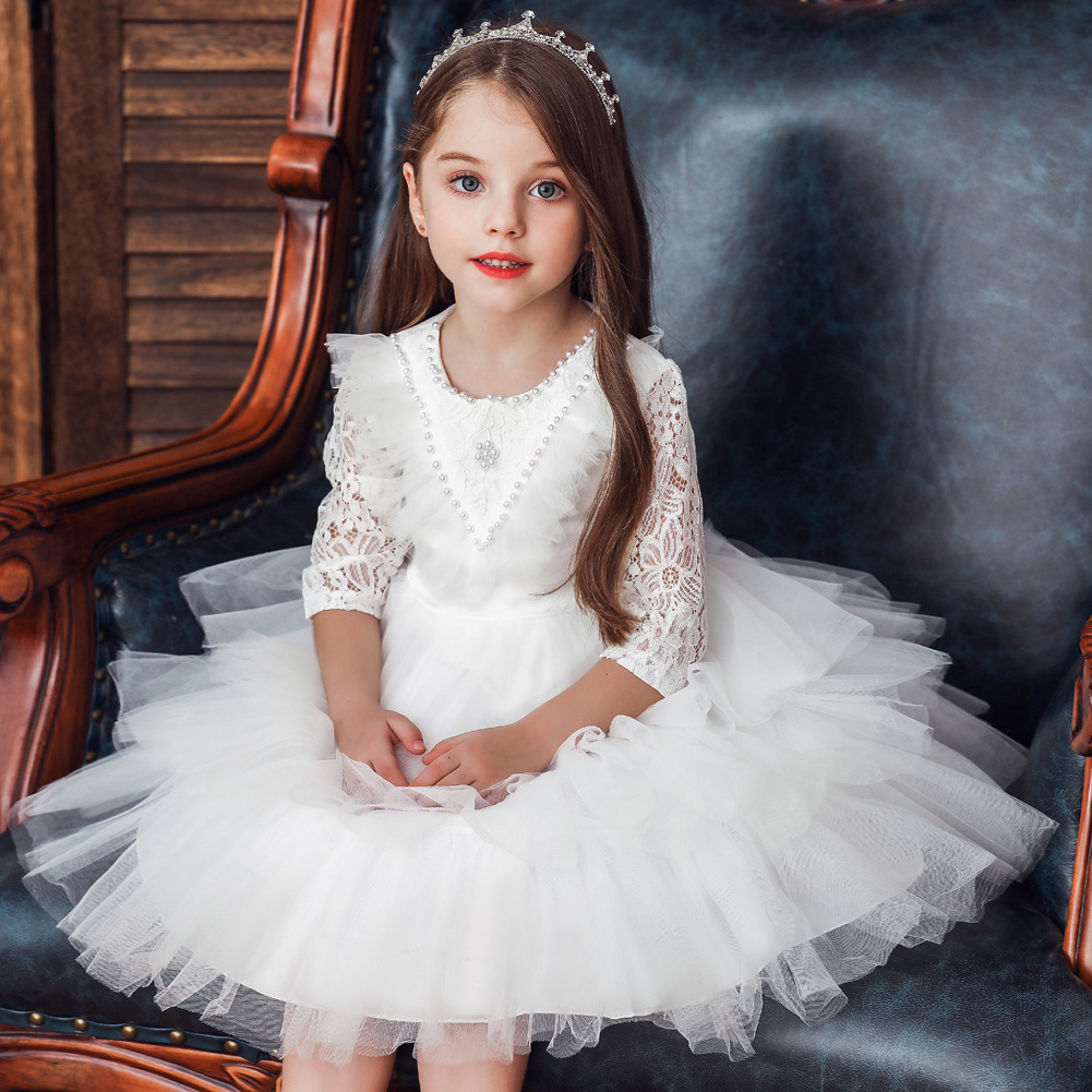 Europe And America Children Princess Dress A Year Of Age Baby Birthday Long Sleeve Lace Cake Puffy Dress Girls Baby