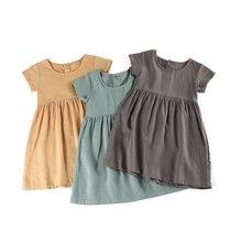 Летнее платье для маленьких девочек, весна 2020, льняное, хлопковое, повседневное, винтажное, однотонное, детское платье для девочек