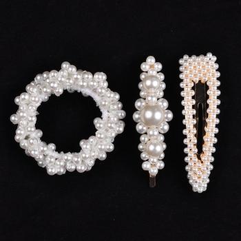 14 Colors Woman Elegant Pearl Hair Ties Beads Girls Scrunchies Rubber Bands Ponytail Holders Hair Accessories Elastic Hair Band 18
