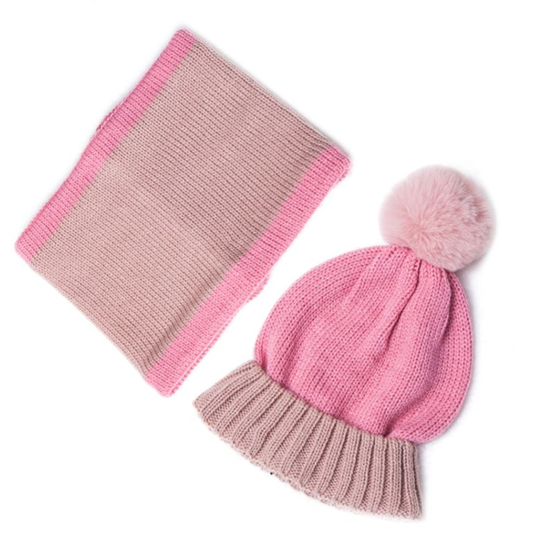 2020 Toddler Kids Winter Pompom Contrast Color Beanie Hat Infinity Scarf Set 3-13T
