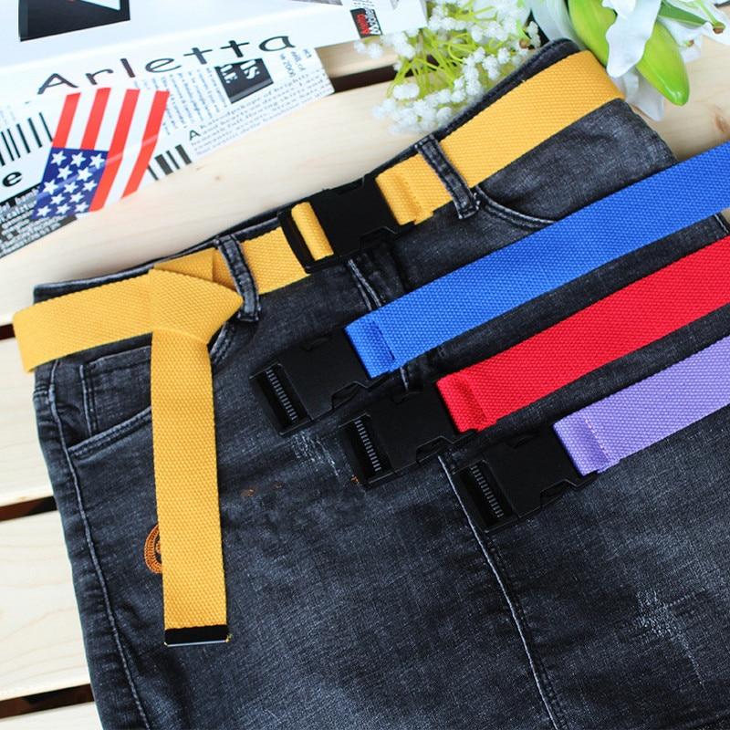 Unisex Plain Webbing Cotton Canvas Metal Buckle Belt High Quality Belts Male Luxury Casual Straps Ceintures