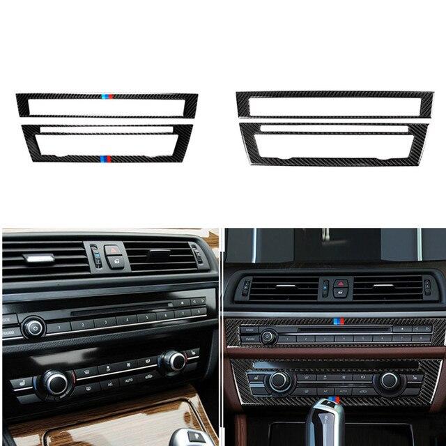 עבור BMW F10 5 סדרת 2011 2017 פנים סיבי פחמן רכב CD בקרת פנל פנים מדבקת AC פנל מסגרת אביזרי לשקע אוויר