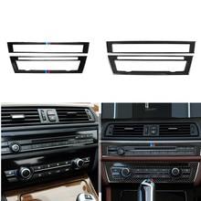 Panel de Control de CD de fibra de carbono para coche, pegatina Interior, marco de Panel de CA, accesorios de salida de aire, F10 para BMW serie 5, 2006 2012