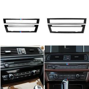 Image 1 - Per BMW F10 5 Serie 2011 2017 In Fibra di Carbonio Interni Auto CD Pannello di Controllo Interno Adesivo AC Pannello Con Cornice uscita aria Accessori