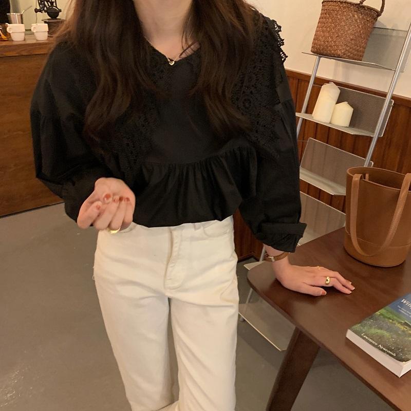 Hc12eecc8249545c787763d736aa47ad6s - Spring / Autumn Butterfly Lace Collar Long Sleeves Solid Blouse