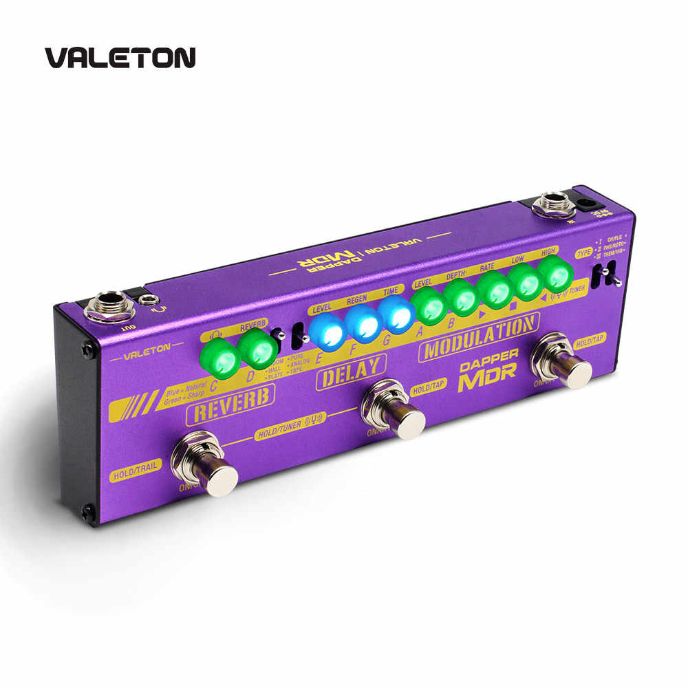 Valeton Chitarra Multi Effects Pedal Dapper MDR di Riverbero Ritardo Chorus Phaser Vibrato Tremolo Flanger Analogico Digitale Nastro di Ritardo
