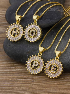 Name Necklace Pendant Zircon Jewelry Charm Gift Top-Quality Initial-Letter Gold Girls