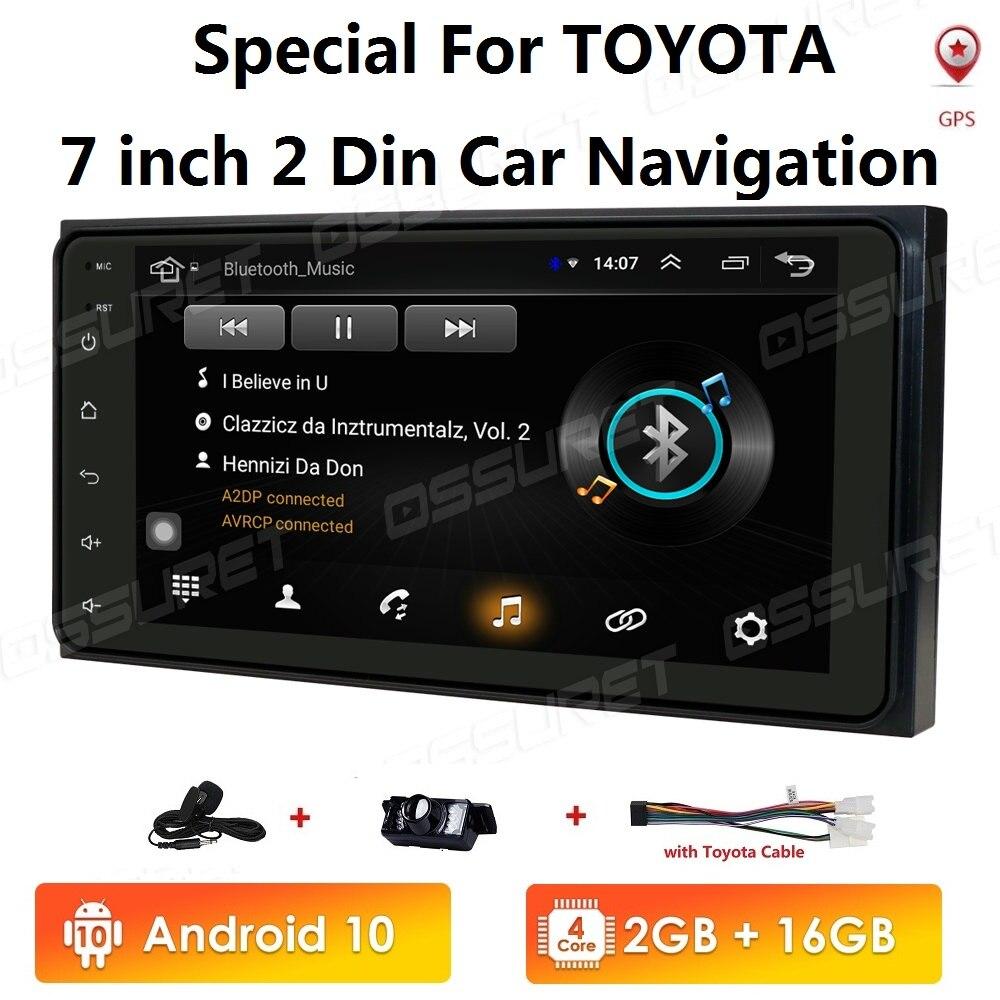 "7"" Android 10 4 Core 2Din Car Media Player for Corolla E120 Toyota RAV4 Hilux Fortuner Innova Prado HIACE PREVIA No DVD 4G WIFI"