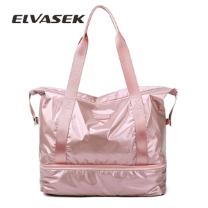 ELVASEK Travel Duffle Bags PINK Gym Bag Dry Wet Separation Yoga Bag Multifunction Handbags Big Capacity Shoulder Overnight Bag