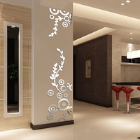 Creative Circle Ring Acrylic Crystal Mirror Wall Stickers DIY 3D Decal Wall Home Decor Bedroom Living Room Wallpaper Decoration