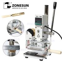 ZONESUN ZS 100 Manual PVC Card Leather Paper Hot Foil Stamping Bronzing Embossing Machine Heat Press Machine Branding Iron
