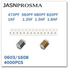 JASNPROSMA 4000PCS 0603 1608 X7R RoHS 25V 50V 10% 470PF 560PF 680PF 820PF 1NF 1.2NF 1.5NF 1.8NF SMD קבלים באיכות גבוהה