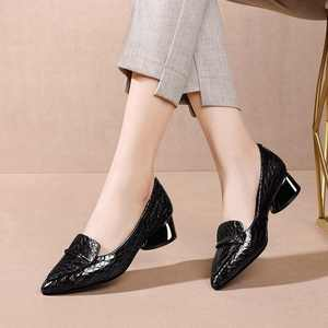 Image 5 - Krazing Pot print genuine leather fashion metal decorations pointed toe med heels slip on loafers leisure daily wear pumps L83
