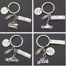 no matter where, Drive Safe I need you here with me,Metal Keychain, Bus Charm, Pickup Car Motorcycle Charm, 1pcs