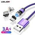 Магнитный USB-кабель USLION 3A со светодиодной подсветкой, кабель для быстрой зарядки с разъемом Type-C с поворотом на 540 градусов, магнитный кабель ...