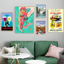 La Республика Аргентина холст картины винтажные Путешествия стены крафт плакаты покрытые стены наклейки домашний Декор подарок