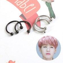 """Kpop bangtan boys Korean Star """"SUGA"""" """"JK"""" Semicircle Stud Earrings Jewelry Accessories For Women Men Bangtan"""