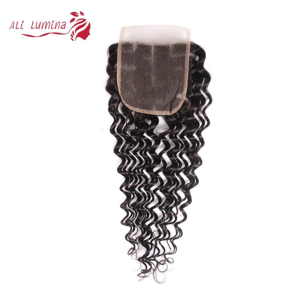 4x4 Lace Closure 100%  Closure Sample    Hair Deep Wave Frontal Closure 8 Inches Short Hair 2