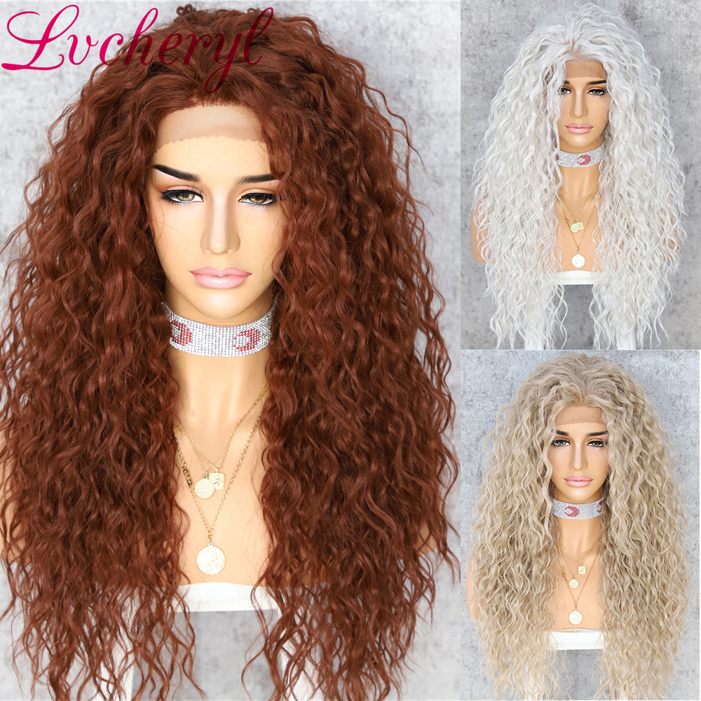 Lvcheryl Hair Wigs Curly Heat-Resistant Brown Lace-Front Synthetic Color Women  title=