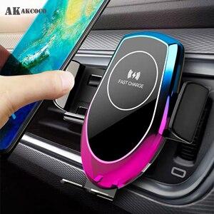 Image 1 - Qi 15 w carro sem fio auto hholder carregador de vidro sucção baseado veículo sem fio para iphone xr xiaomi huawei cabo forte