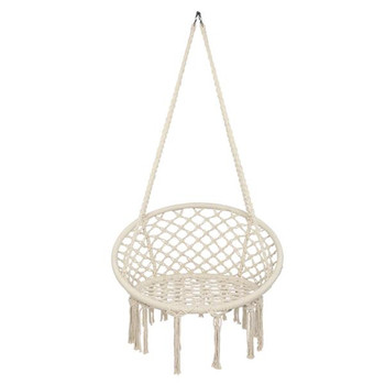 Cotton Rope Hammock Chair Handmade Knitted Indoor Outdoor Kids Swing Bed Adult Swinging Hanging Chair Hammock load bearing 100kg easy to carry outdoors reticular overstriking nylon rope hammock adult children outdoor sport swing