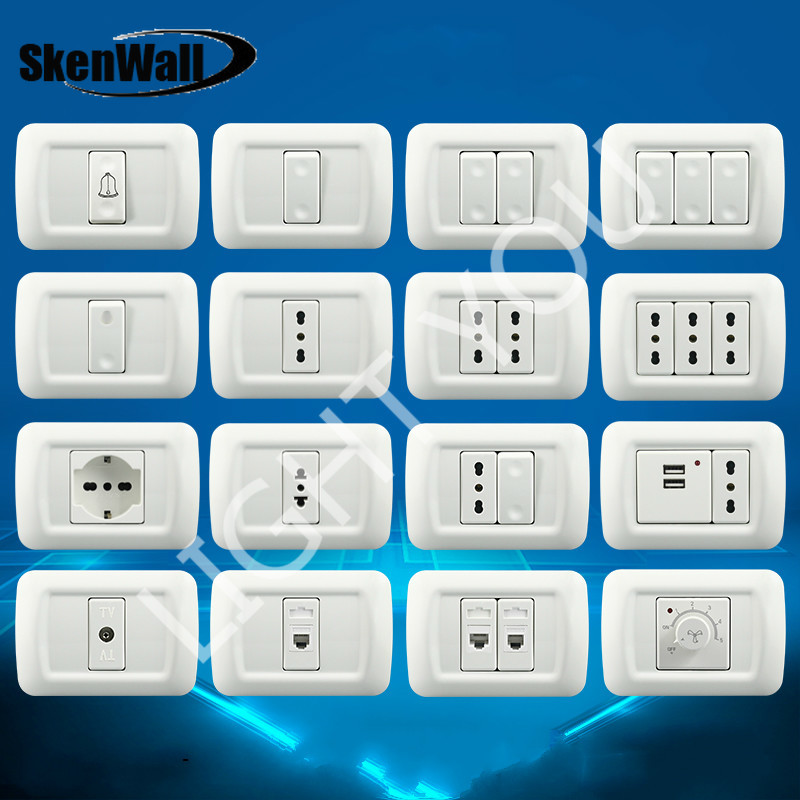 118 Type PC Panel Italian Standard Israeli Wall Switch Concealed Italian Standard Power Socket With USB