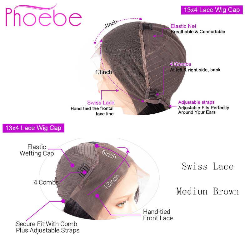 Phoebe 13x4 ลูกไม้ด้านหน้ามนุษย์ผมวิกผม Pre Plucked สำหรับผู้หญิงสีดำ Non-Remy บราซิล Body WAVE วิกผมลูกไม้ด้านหน้าด้านหน้าความหนาแน่น 150%