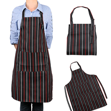 Cooking Apron With Pockets Home Kitchen Chef Restaurant Waiter Aprons Adjustable Apron Adult Black Stripe Bib For Man Woman