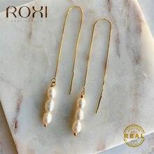 ROXI barroco Vintage perla caída borla pendientes para las mujeres de cadena larga de agua dulce pendientes colgantes de perlas para la joyería de las mujeres oído de la línea