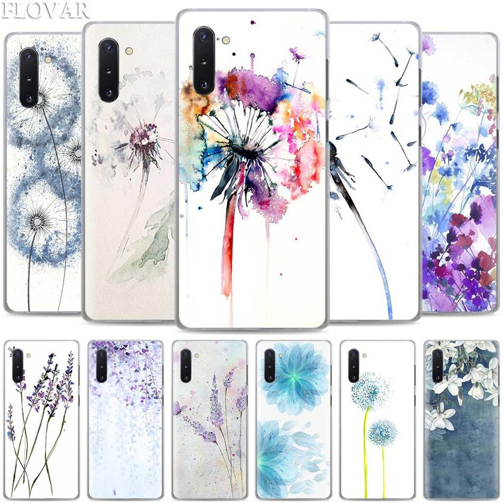 Watercolor <font><b>flower</b></font> Dandelion Lotus Lavender <font><b>Cases</b></font> for <font><b>Samsung</b></font> <font><b>Galaxy</b></font> Note 10 S10 Plus 5G S10e A30 A40 A50 A60 <font><b>A70</b></font> M40 Hard Cover image