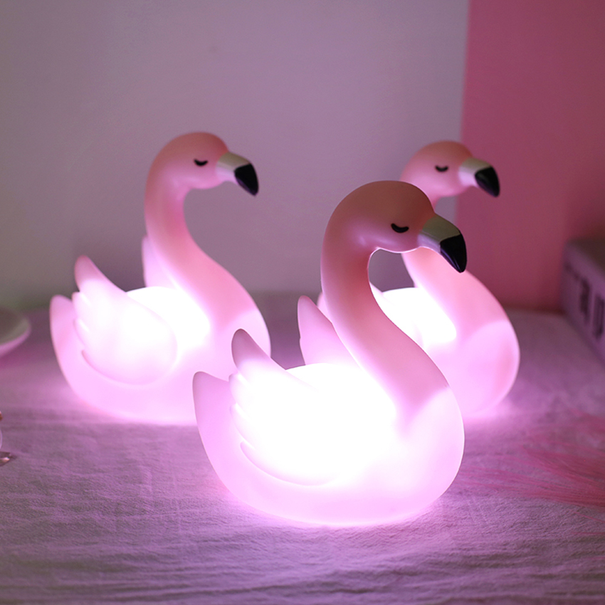 Pink Table LED Night Lights For Kids, Cute Animal Baby Night Light With Switch, Portable Night Lamps For Bedrooms Desktop