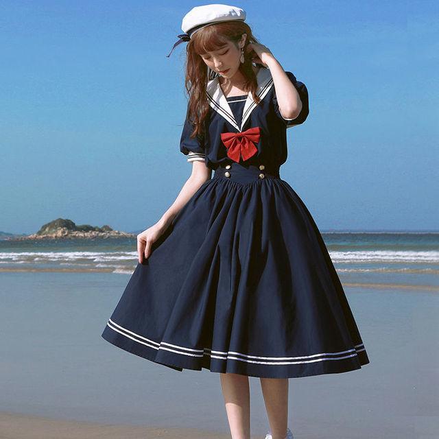 QWEEK Navy Sailor Collar Dress Mori Girl Harajuku Sundress Japan Style Sweet Lolita Style Kawaii Cute Dress Princess Elegant 2