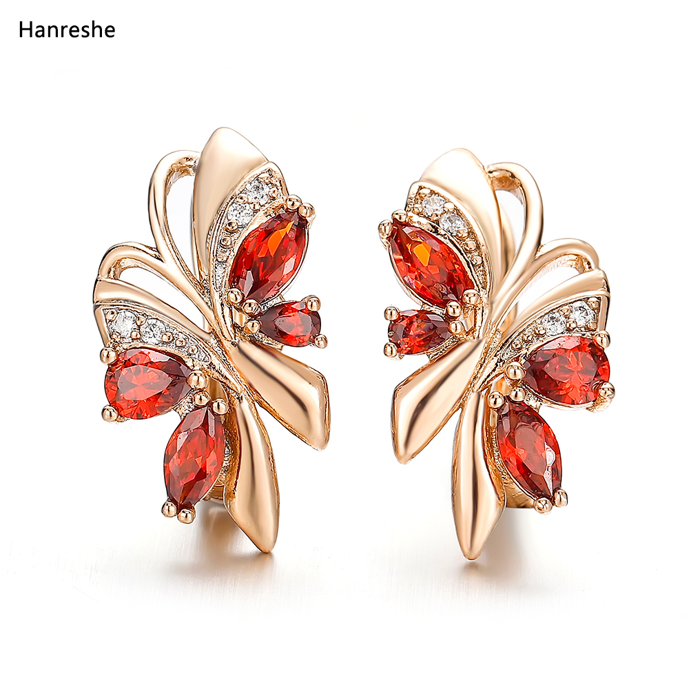 Hanreshe Stud Earring Hiphop Jewelry Small Red Green Blue Natural Zircon Crystal Earrings Statement Cute Gold Earring Women Gift