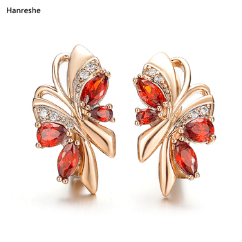 Hanreshe Stud Earring Hiphop Jewelry Small Red Green Blue Natural Zircon Crystal Earrings Statement Cute Gold Women Gift - discount item  36% OFF Fashion Jewelry