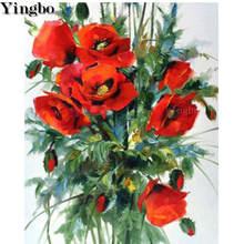 Red poppy flower 5d diy diamond painting kits Full square round drill diamond embroidery mosaic cross stitch decor diamond art