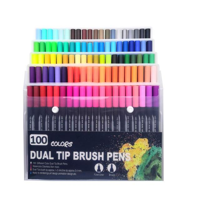 100 Colors Art Markers Watercolor Fine Liner Dual Tip Brush Pen Set For School Art Supplies Best Effect For Drawing And Painting