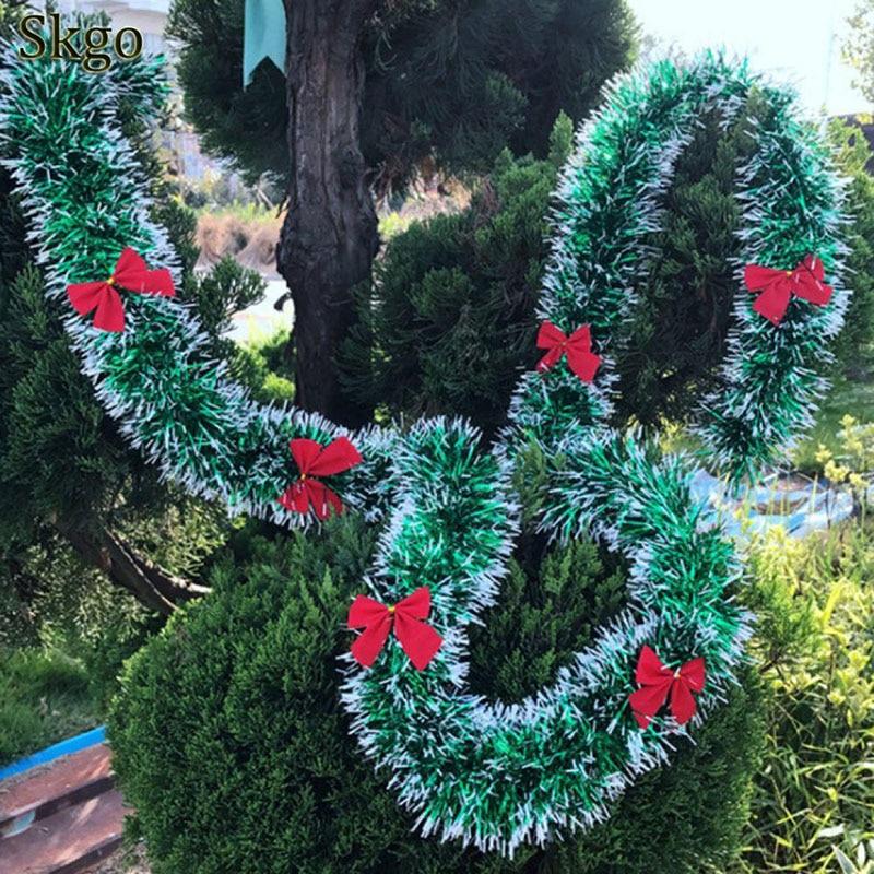 Новинка 2019, рождественские украшения, топы, лента, гирлянда, елочные украшения, зеленые кастиновые украшения, вечерние украшения для дома и улицы