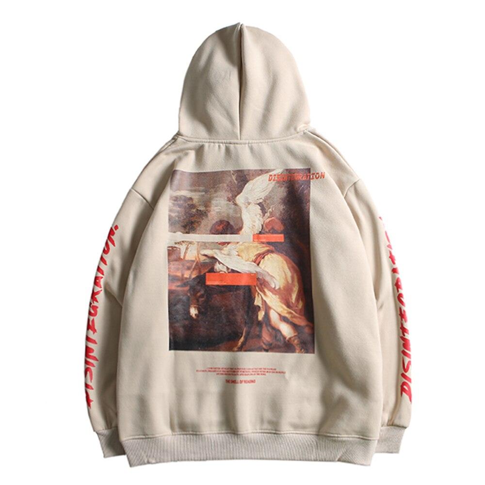 Retro Angel Horse Graphic Hooded Pullover Sweatshirt Streetwear Men Cotton Beige Hoodie Hip Hop Kangaroo Pocket 2020 Spring New