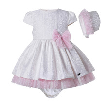 Infant Girl Outfits-Sets Newborn-Baby White with Bonnet And Pp-Pants Puff-Sleeve Jacquard