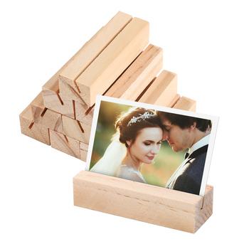 10 sztuk biznes uchwyt drewniany w kształcie prostokąta stojak na zdjęcie oprawka na zdjęcia Handmade notesik tanie i dobre opinie CN (pochodzenie) Drewna