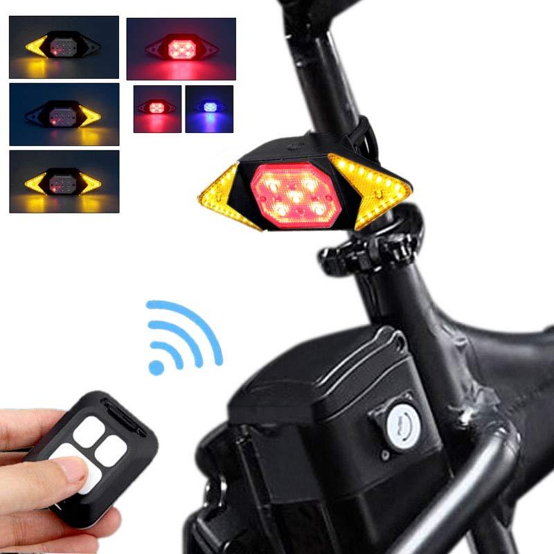 Luz direccional inteligente LED para bicicleta para parte trasera recargable va USB con control remoto luz de advertencia