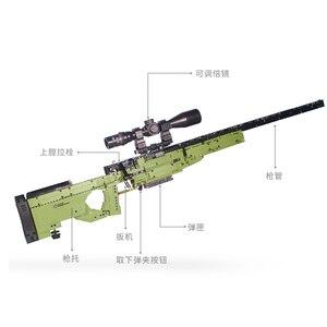 Image 3 - Apt série técnica armas espingarda pode disparar balas conjunto awm winchester modelo militar blocos de construção brinquedos para meninos presentes lepining