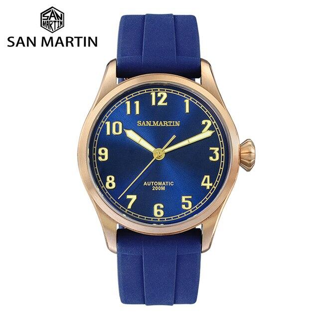 San Martin DIVER ดีบุก Retro Bronze ผู้ชายอัตโนมัตินาฬิกา Fluoro Rubber Sapphire ดูผ่านกรณีกลับส่องสว่าง