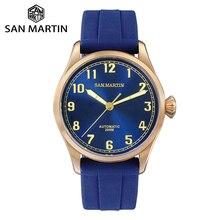 San Martin Diver Retro Tin Bronze mężczyźni automatyczny zegarek mechaniczny Fluoro Rubber Sapphire przezroczysty futerał z powrotem Luminous