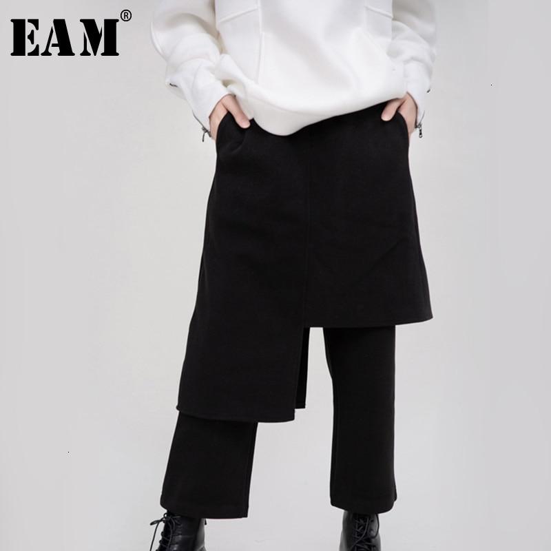 [EAM] High Elastic Waist Black Split Long HaremTrousers New Loose Fit Pants Women Fashion Tide Spring Autumn 2020 1N0370