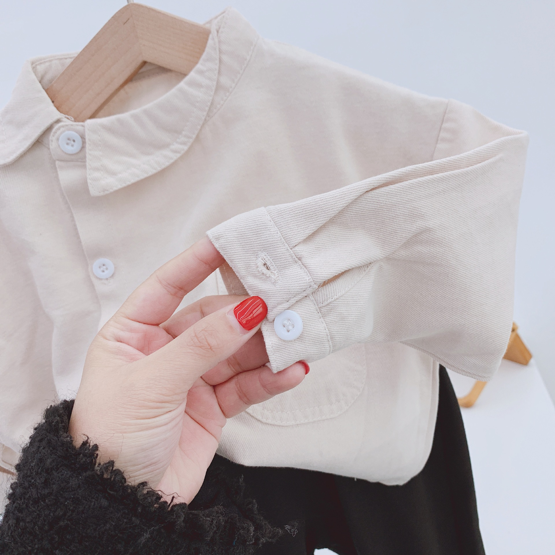 Children's Shirt 2020 Spring New Boys' Diagonal Collar Shirt Top Baby Two Color Shirt Baby Boy Clothes Girls Blouse