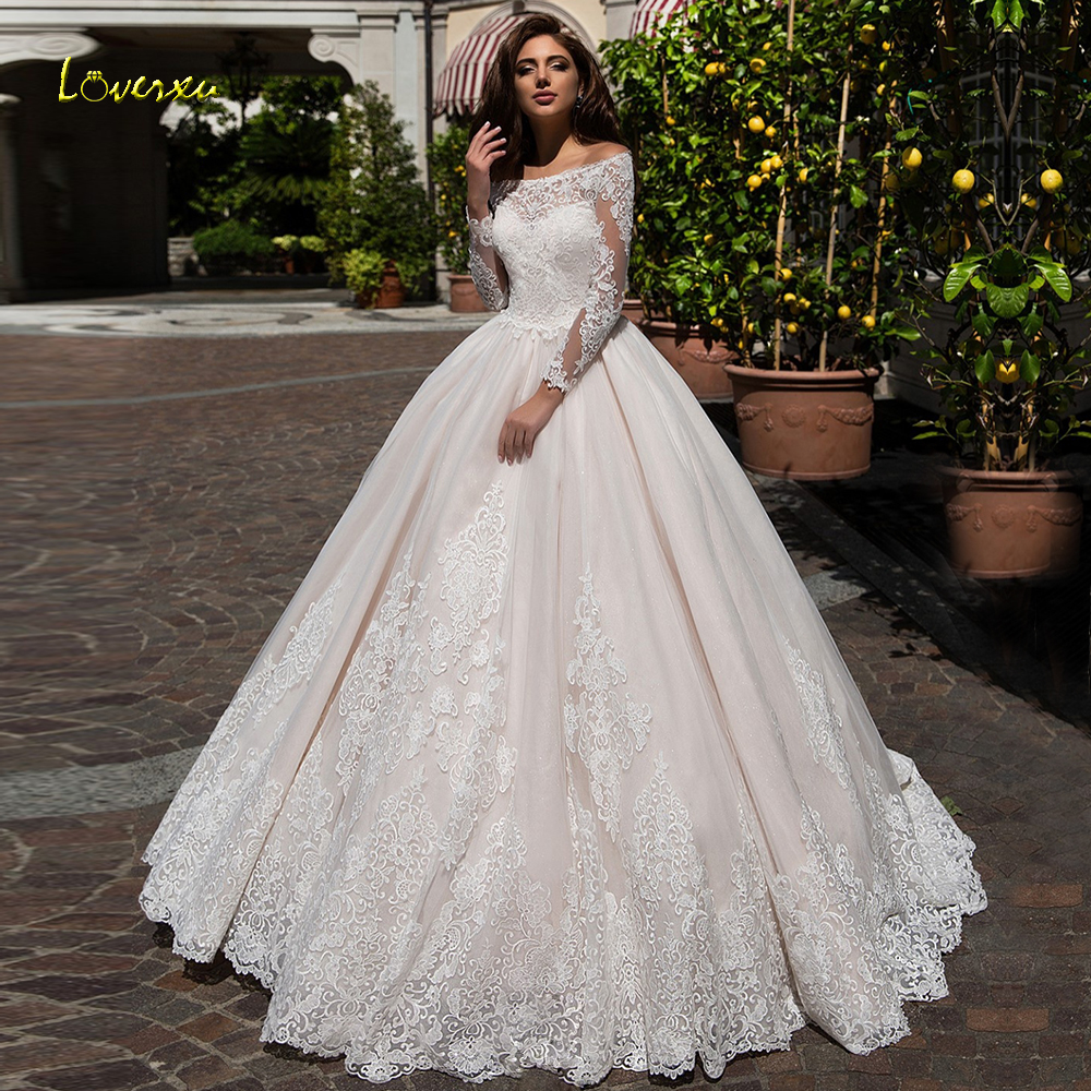 Loverxu Boat Neck Ball Gown Wedding Dresses 2019 Chic Appliques Long Sleeve Button Bride Dress Court Train Bridal Gown Plus Size thumbnail