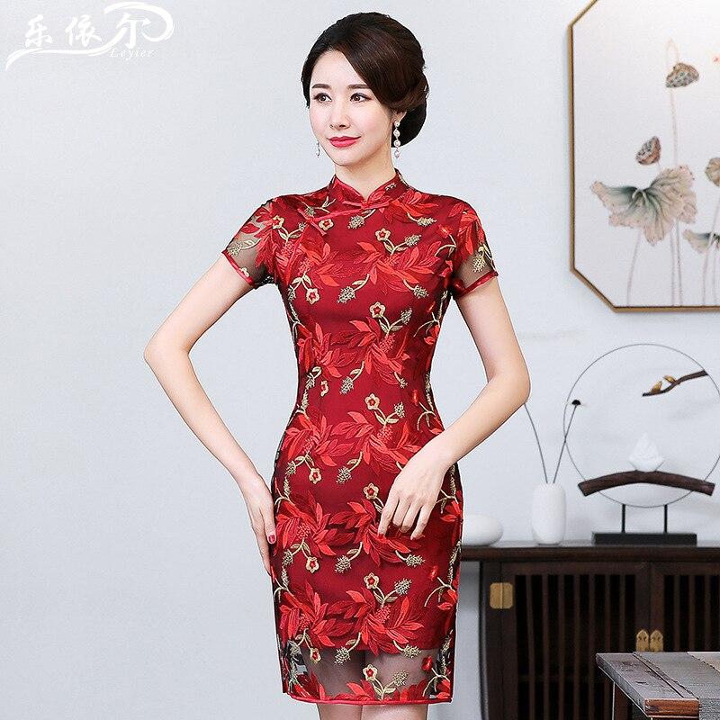 Autumn Clothing Chinese Costume Cheongsam Tops Short New Style Fashionable Chinese Style Womanishly Fussy-Wedding Banquet Servic